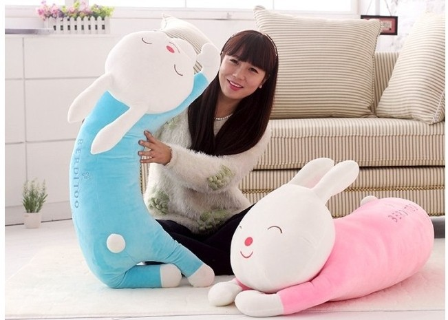 lovey blue rabbit plush toy doll big smile pillow birthday gift 110cm