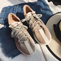 Korean New Spring Casual Women Fashion Sneaker Flat Trainer Shoes Lace Up Round Toe Patchwork Color