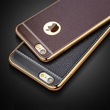 Luxury Retro Leather Pattern Soft TPU Silicone Phone Case For iPhone 5 5S SE 6 6S Plus Ultra Thin Plating Gold Frame Back Covers(China (Mainland))