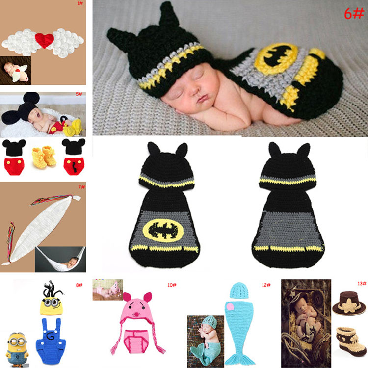 2014 Latest Crochet Baby Hats Photo Props Animal Designs Infant Baby Photography Porps Costume Knitted Hat&Caps 1pc MZS-14049(China (Mainland))