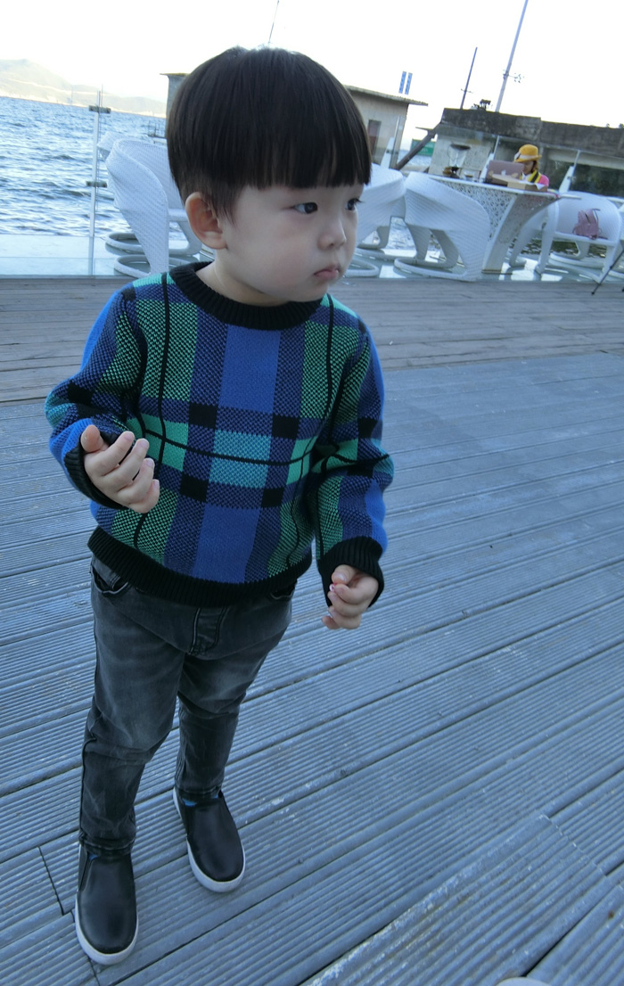 Fashion Family Look Clothing Cyan plaid cotton Sweater Families with children matching outfit mother and daughter/ son clothes