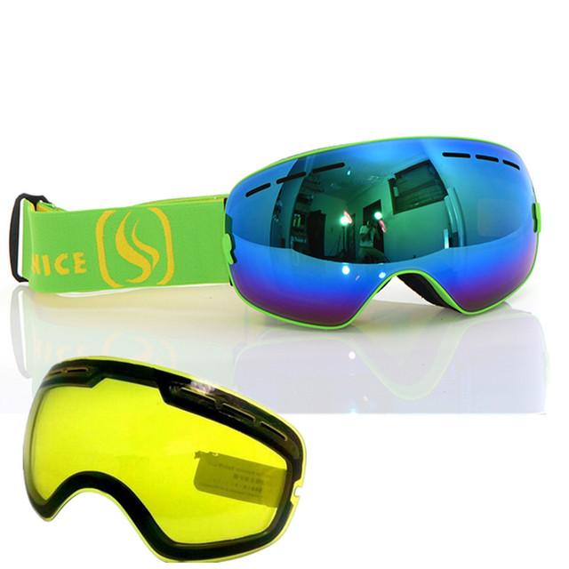 Benice сноуборд очки профессиональные двойные анти противотуманные большие сферические Ветрозащитный мотокросс лыжная маска очки с Ночного Видения Объектив