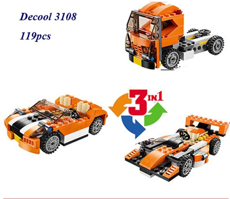 119pcs 3in1 Creator Sunset Speeder Truck Cab Racing Car DIY 3D Model Building Kit Minifigure Blocks Bricks Compatible With Legoe