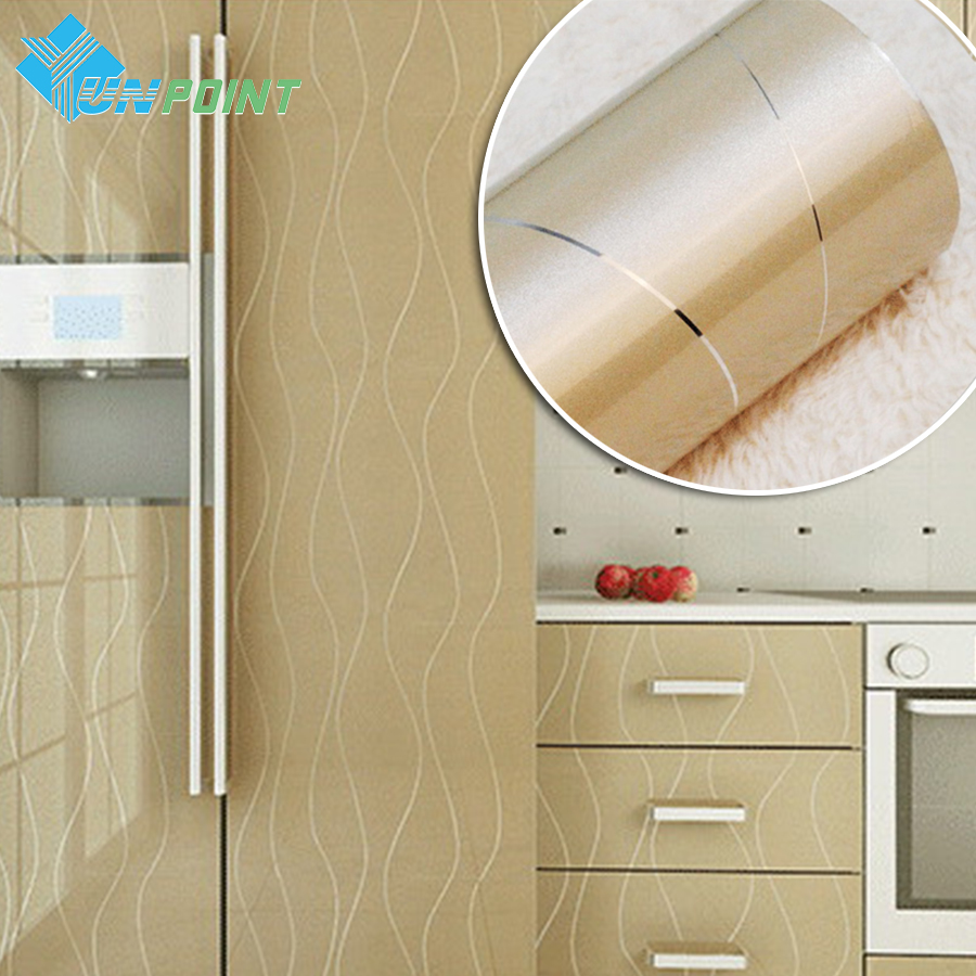 60cmX3m Golden Paint Silver Lines PVC Decorative Stickers Heat Transfer Vinyl Film DIY Self adhesive Wall paper for Kitchen(China (Mainland))