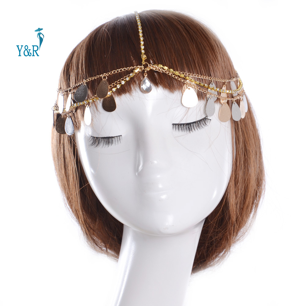Fashion Bohemian Hair Jewelry Party Wedding Sequins Rhinestone Gold Metal Tassel Women Head Chain Headband Jewelry Headpiece(China (Mainland))