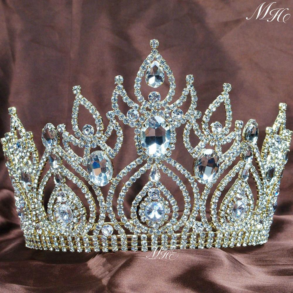 Gorgeous Large Tiaras Wedding Bridal Crowns Gold Plated Clear Rhinestones Crystal Brides Pageant Party Hair Accesories(China (Mainland))