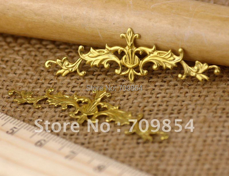 free shipping!!! 200pcs/lot Soild Brass Filigree Art Pattern Embellishment Wrap connector 52x16mm jewelry findings