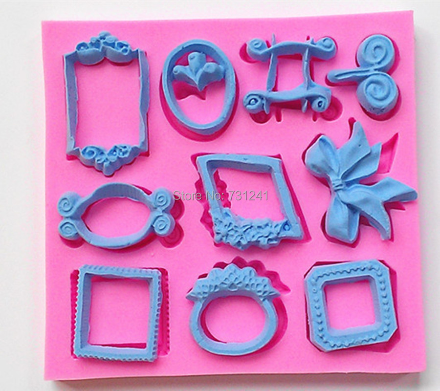 Design 564 Classic Small Picture Frame, Bow& Ring Shape Silicone Mold,Sugar Mold, Chocolate Mold, Cake Decoration Tool(China (Mainland))