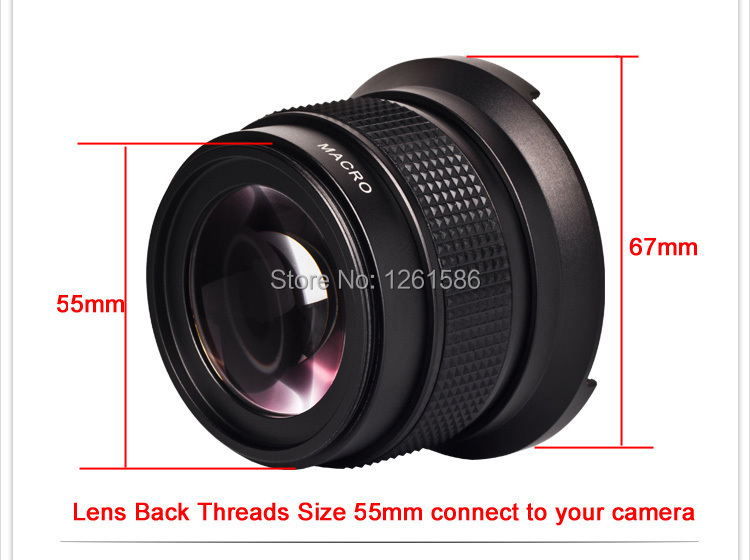 55mm camera 0 42X Super Wide Angle Fisheye Lens with Macro Lens For Sony A55 A57