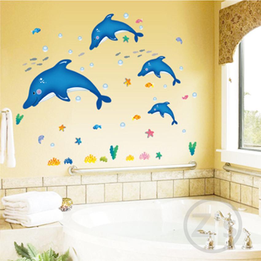 dolphin fish marine animals wall sticker bath room decoration removable adhesive vinyl watertight waterproof bathroom AY6044(China (Mainland))
