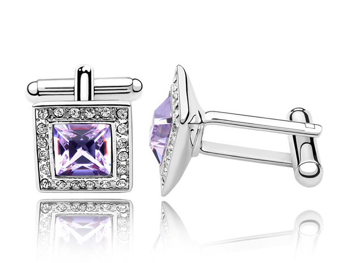 Free Shipping 100% Austria Purple Crystal White Gold Plated Cufflinks for Men(China (Mainland))