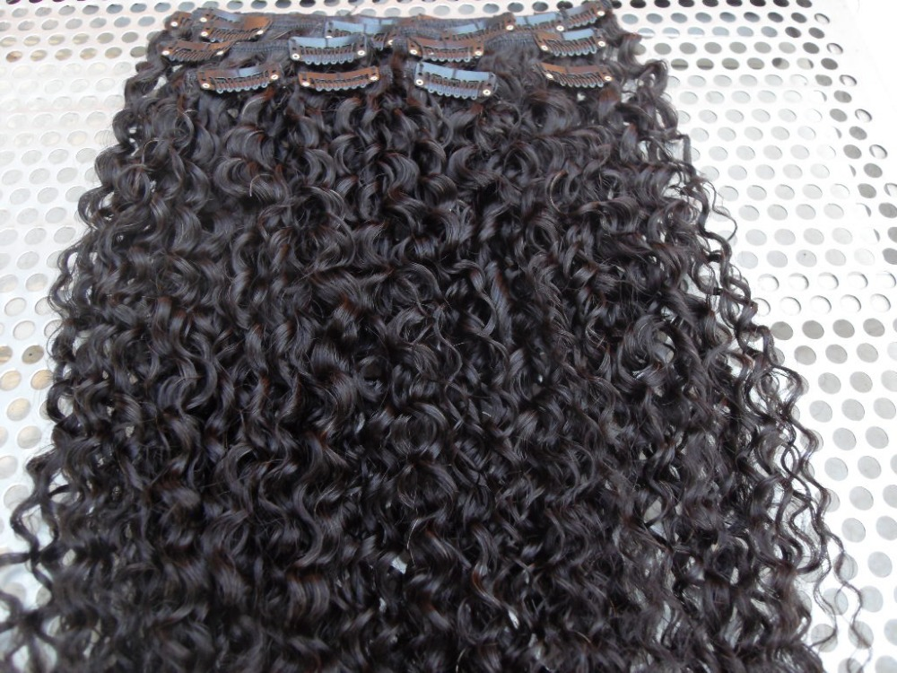 brazilian jerry curly clip in weft  new curly hair extensions 120g/bundle 8pieces/set unprocessed hair natural black extensions<br><br>Aliexpress