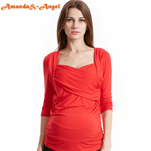 Amanda & Angel New 3/4 Sleeves Crossover Sweetheart Maternity Tee Shirt Nursing Tops Draped Shoulder Ruched Side Size S M L Red(China (Mainland))