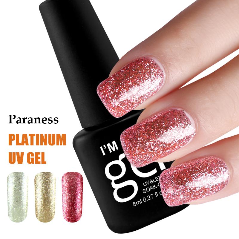 Paraness 8ml 3D Platinum Glitter 12 Color LED UV Polish Gel Lucky Nail Art Vernis Semi Permanent Gel Nail Polish Foil Adhesive(China (Mainland))