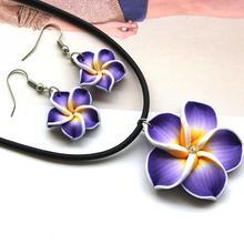 New Design Polymer Clay Purple Hawaii Flower Jewelry Sets Rhinestone Necklace Pendants Earrings(China (Mainland))