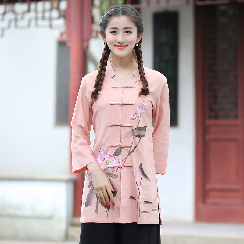 New Arrival Summer Chinese Style Cotton Linen Women Tang Suit Tops font b Blouse b font
