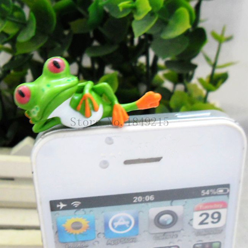 Lying Green Frog cartoon Mobile phone dust proof plug solid animal Earphone plug 2pcs/lot cute lazy frog universal dust plug(China (Mainland))