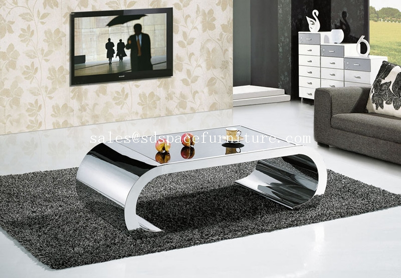 Stainless steel glass center table coffee table for living for Glass living room furniture