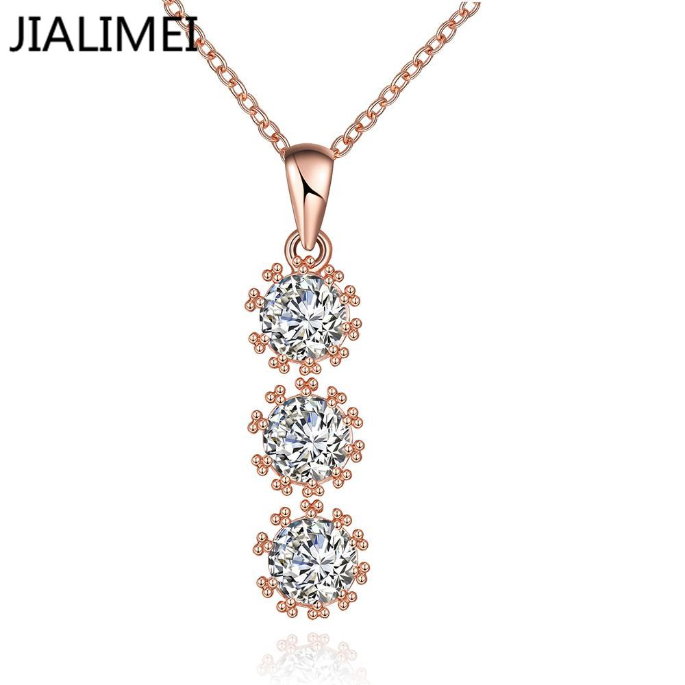 Hot Sell 18K Real Gold/Gold Plated Necklaces Pendants with High Quality Cubic Zircon For Women Birthday Gift N119-B(China (Mainland))