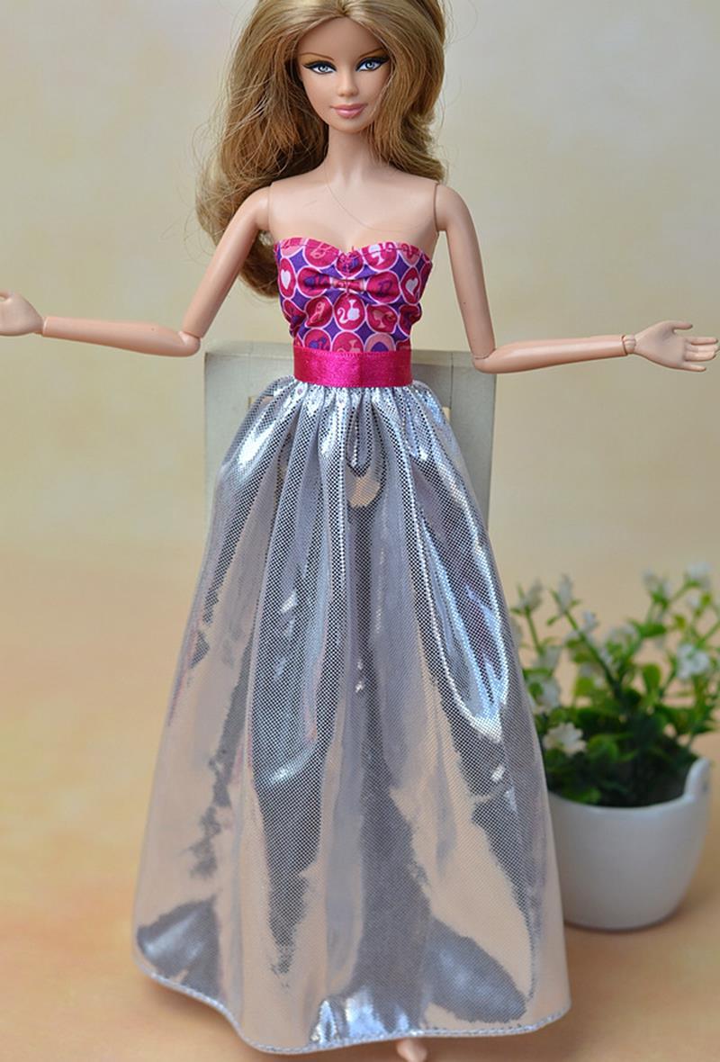 Excessive High quality Pink Silver Attractive Off Shoulder Celebration Costume For Barbie Doll Princess Costume Vestido Garments For 1/6 BJD Dolls