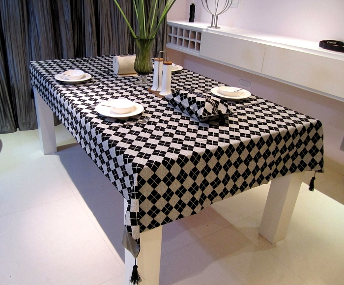 90*140cm Black-and-light gray Dimond Plaid Linen Table Cloth Dining Tablecloth Chair Cover Set(China (Mainland))