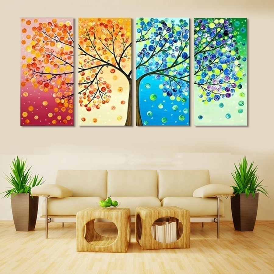 4 Piece Frameless Colourful Leaf Trees Canvas Painting Wall Art Spray Wall Painting Home Decor Canvas Printings For Living Room(China (Mainland))
