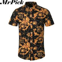 2016 Short Sleeve Men Shirts FashionChemise Homme Camisa Masculina Yellow Flower Casual Shirts T0008(China (Mainland))