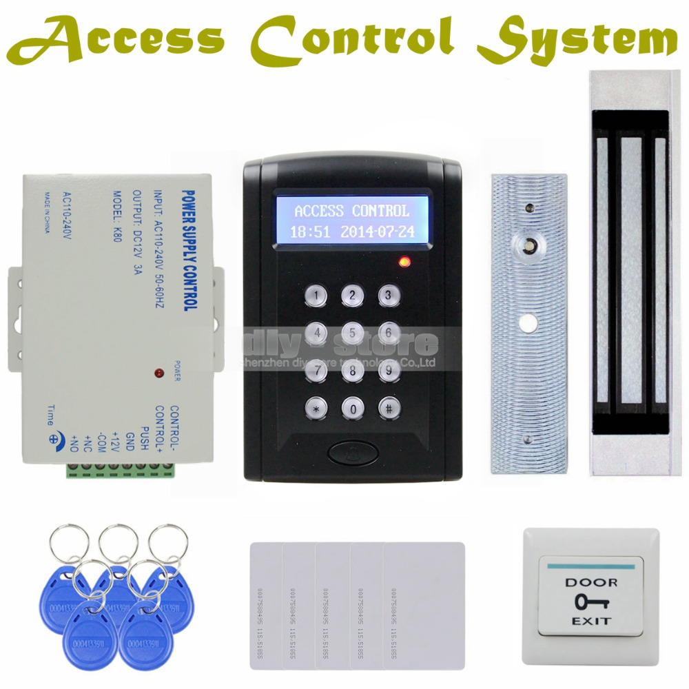 DIY LCD Password Keypad 125KHz RFID Reader with 180kg Electric Magnetic Lock Access Control System Security Kit Black BC200(China (Mainland))
