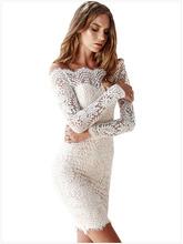 Buy New Arrival Elegant Floral White Lace Crochet Dress 2016 Autumn Winter Long Sleeve Slash Neck Vintage Party Dress KP#491 for $20.99 in AliExpress store