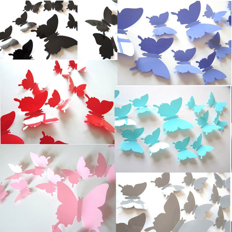 12pcs/set Mirror 3D Butterfly Wall Stickers Party Wedding Decor DIY Home Decor Art Decal Wallpaper decor office stickers muraux(China (Mainland))