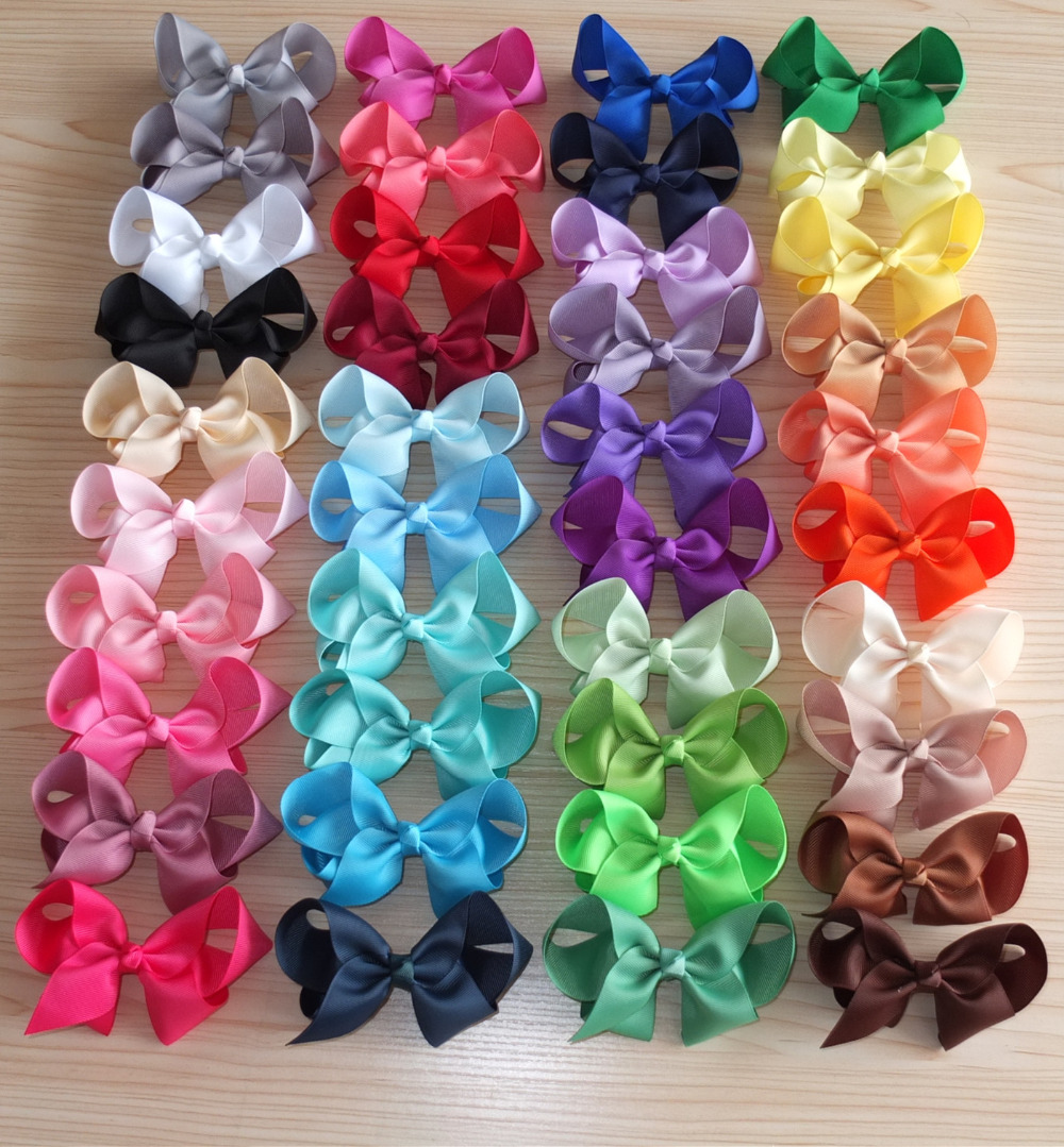 20 stock colors 4 inches grosgrain hairbows with Single Prong alligator clips hair bows wholesale mixed colors