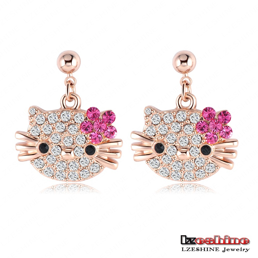 Lovely Cat Flower Stud Earring for Girls 18K Rose Gold Plate Austrian Crystal Kitten Earings With SWA Elements Brinco ER0109-A (China (Mainland))