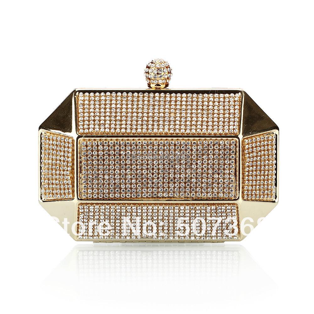 Luxury Party Clutch Bag Iron Box Full Diamond Evening Bag Clutch Solid Purse Diamond Wedding Handbag NO0182 Black Silver Gold(China (Mainland))