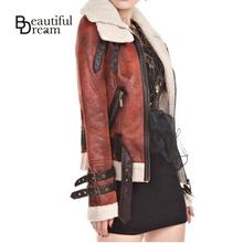 Jaqueta De Couro Feminina Fur Suede Leather Jacket Women Turn-Down Collar Slim Lamb Wool Winter Coat Female Motorcycle Clothing(China (Mainland))