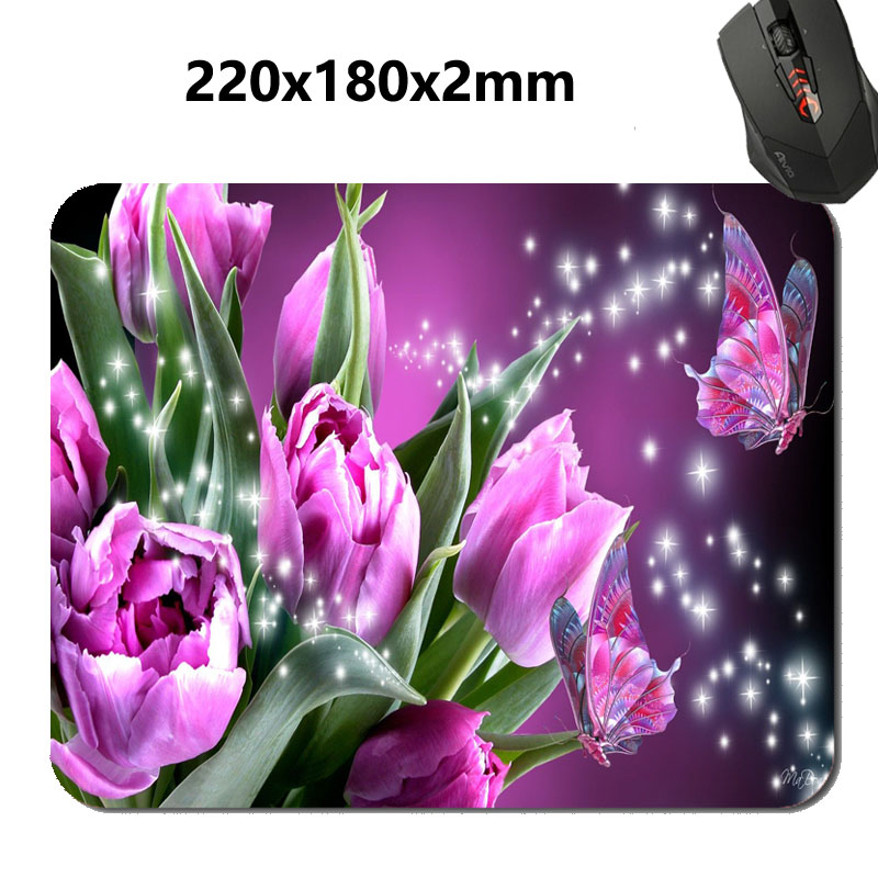 New arrival Butterfly Kiss Flower Mouse Pad Background DIY Printing Pattern Durable Gaming Computer Mouse Mat Lock Edge Pads(China (Mainland))