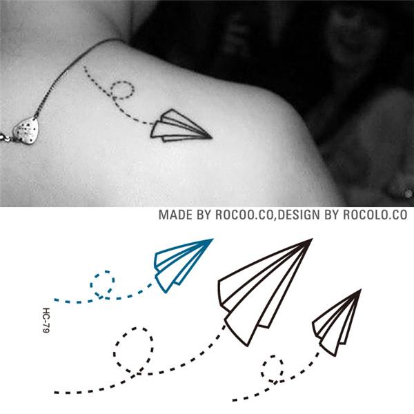HC1079 Waterproof Fake Tattoo Stickers Paper Airplane Design Temporary Tattoo Sticker Women And Men Sexy Shoulder Flash Tattoo(China (Mainland))