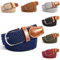 Mens Women Canvas Plain Webbing Metal Buckle Woven Stretch Waist Belt  Colors