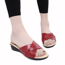 Buy 2017 Summer new soft bottom large size leather slippers non-slip comfortable woman cool slippers mother casual slippers 40 41 42 for $12.60 in AliExpress store