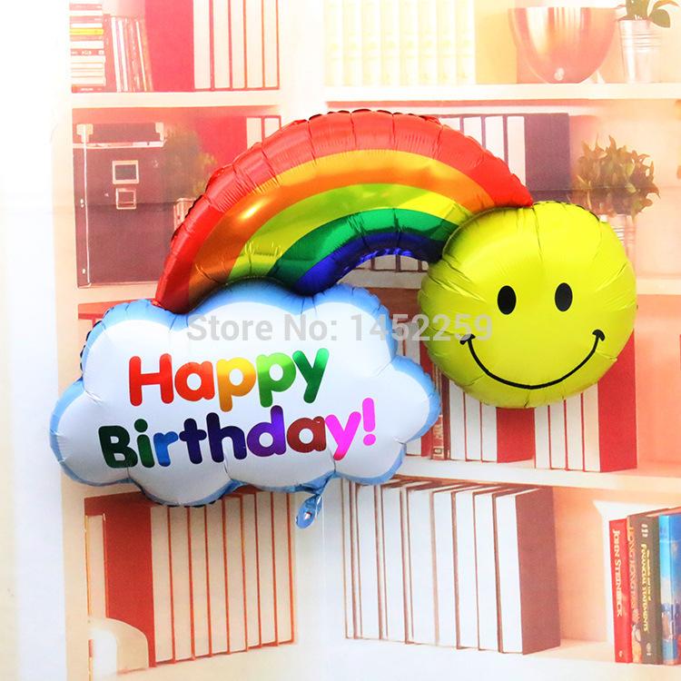 91cm Fine aluminum foil aluminum balloons birthday party arranged wholesale sided large rainbow smiley balloon(China (Mainland))