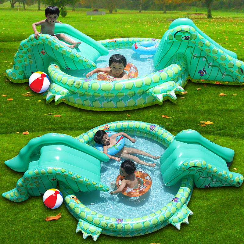 2016 Multi-function Large Size Outdoor Inflatable Swimming Pool With Slide Piscine Gonflable Plastic Slide For Pool Playing(China (Mainland))