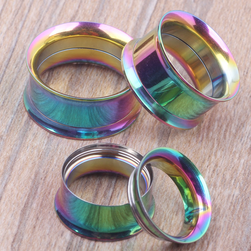 Internally Threaded Rainbow Ear Plug Mix 5~20mm 72pcs/lot Body Piercing Jewelry Ear Flesh Tunnel<br><br>Aliexpress