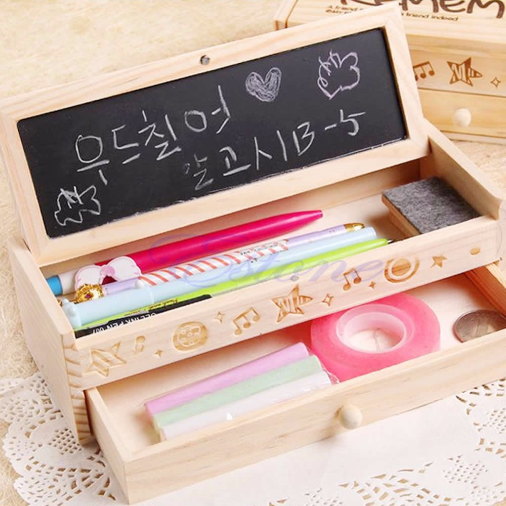 J35 Free Shipping Multifunctional School Pencil Holder Pen Case Vintage Wooden Box Stationery Bag(China (Mainland))
