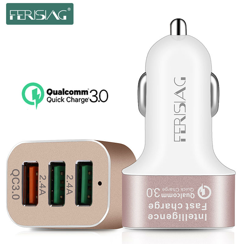 FERISING Car Charger 3 Ports Micro USB 5V 9V 12V Mobile Phone Car-Charger Quick Charge QC3.0 for iPhone 5/6/7 Xiaomi Samsung LG(China (Mainland))
