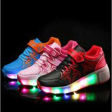 New 2016 Child Heelys Jazzy Junior Girls Boys LED Light Heelys Roller Skate Shoes For Children Kids Sneakers With Wheels(China (Mainland))