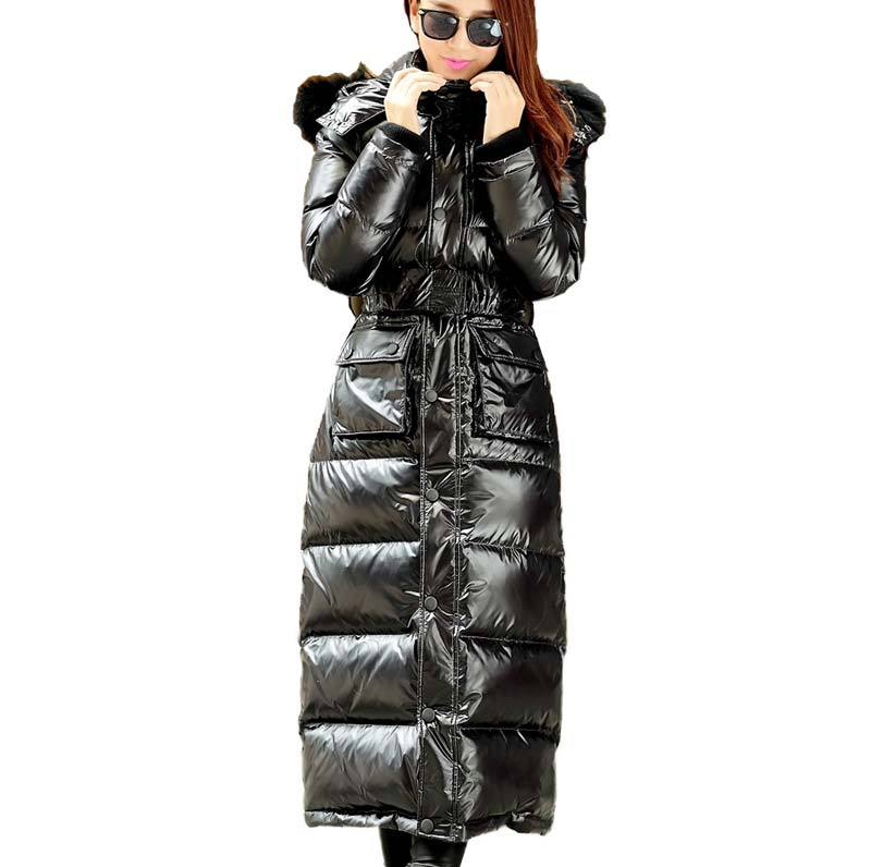2015 Winter plus size X- Long Thick Duck Down Winter Jacket women slim  Fur Collar Parkas Hooded Coat Outdoor Down coat  BL723