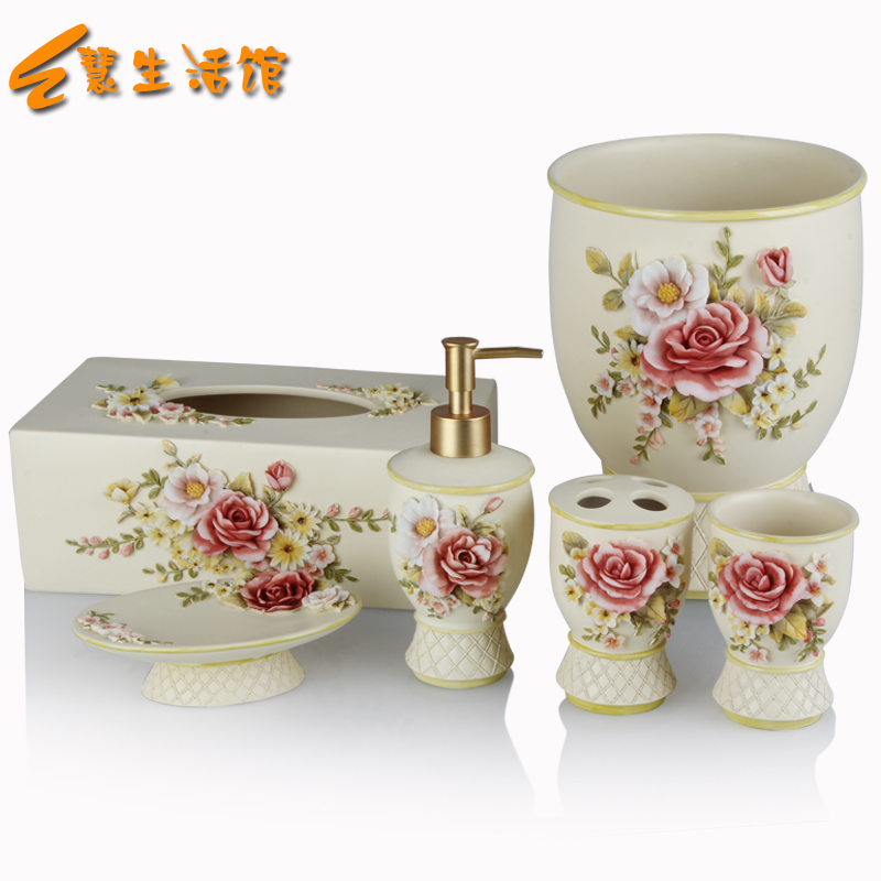 Dispenser Toothpaste Rushed Sale Bathroom Accessories Luxury Peony Set Five Pieces Of Decoration Bath Home Free Shipping Made In(China (Mainland))