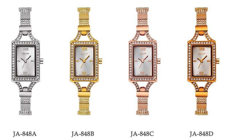 Julius Lady Woman Wrist Watch Quartz Hours Best Fashion Dress Retro Color Chain Bracelet Rhinestone Rectangle Girl Gift JA-848