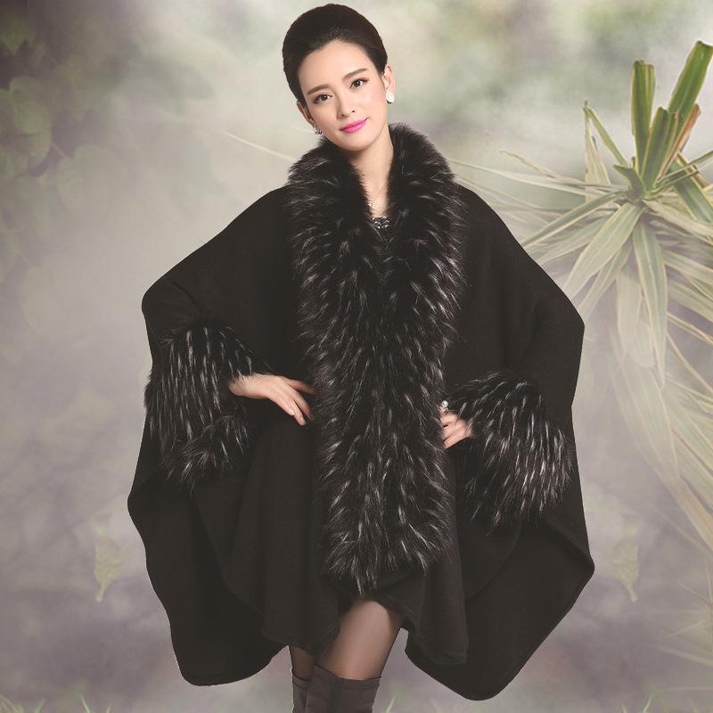 2015 New Style Fashion Winter Women Faux Fur Coat Imitation Ostrich Feather Poncho Cape Outerwear Feminino Casaquinho(China (Mainland))