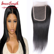 7a unprocessed virgin hair Malaysian Straight Hair Lace Closure 4x4 Human Hair Closure With Bleached Knots