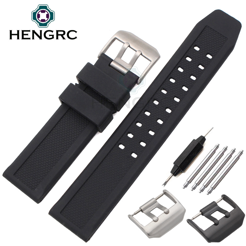 Soft Rubber Watchbands Men Black 23mm Sport Diving Watch Band Strap Silver Black Metal Pin Buckle For Luminox Accessories(China (Mainland))